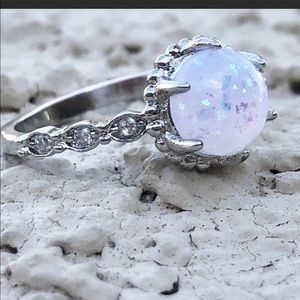 Fire opal and sterling ring, size 8